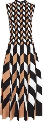 Oscar de la Renta Geometric-Pattern Pleated Dress