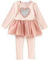 Edgehill Collection Baby Girls 12-24 Months Sequin Heart-Applique Top and Leggings Set