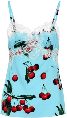 Dolce & Gabbana Exclusive to Mytheresa a Cherry printed silk and lace camisole