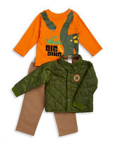Nannette Baby Boys Quilted Jacket, Dino Tee and Chinos Set
