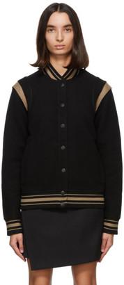 Givenchy Black and Tan Wool Bomber Jacket