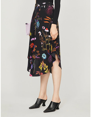 Stella McCartney Floral-print high-waist silk midi skirt
