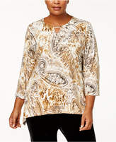 Alfred Dunner Plus Size Paisley Spangle Printed Top