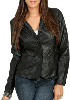Wet Seal WetSeal Faux Leather Button Front Blazer Brown