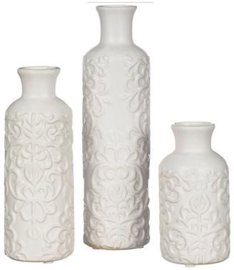 Sullivans White Embossed Bud Vases - Set of 3