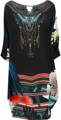 Camilla Night Life-print silk dress