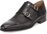 Magnanni Hand Antiqued Double-Monk Loafer, Black
