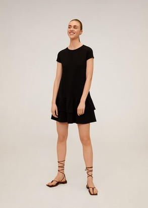 MANGO Short ruffled dress black - 4 - Women