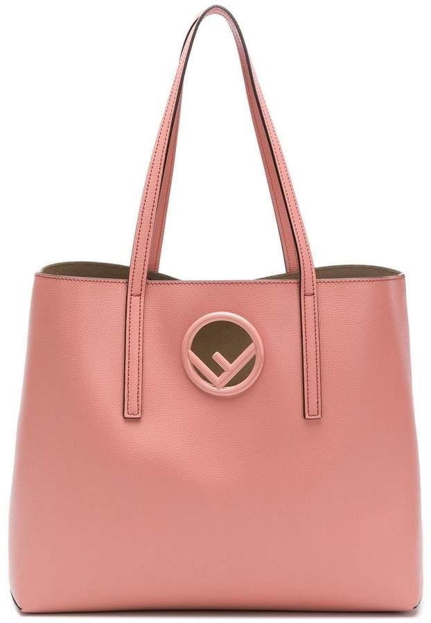 Fendi pink logo leather shopper bag