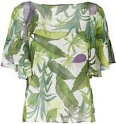 Liu Jo leaf print ruffle blouse