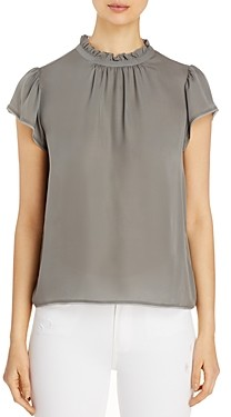 Go by Go Silk Ruffle Neck Cap-Sleeve Silk Top