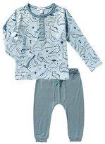 Angel Dear Dino-Print Henley Tee w/ Leggings, Size 3-24 Months