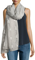 Neiman Marcus Allover Tufts Lightweight Scarf, Gray