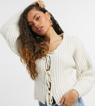 ASOS DESIGN Petite cardigan with tie front detail in cream