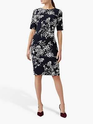 Hobbs Astraea Floral Dress, Navy/Ivory
