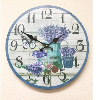 "Creative Motion 13"" Diameter Butterfly and Lavender Flower Clock; Kitchen, Home, Office, Decor."