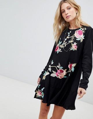 Asos Design ASOS Embroidered Mini Drop Waist Dress