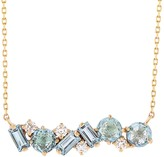 Suzanne Kalan Kalan By Mixed Bar Baguette Blue Topaz and Diamond Necklace - Yellow Gold