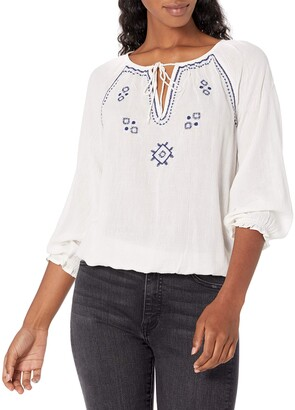 Lucky Brand Women's Long Sleeve V-Neck Embroidered Peasant Top