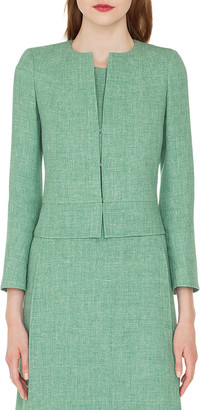 Akris Sally Hook-Closure Short Linen Jacket