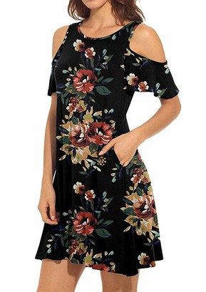 YMING Women Crew Neck Floral Tunic Tops Casual Printed Straight Dress Sexy Summer Mini Dress Black ChrysanthemumL
