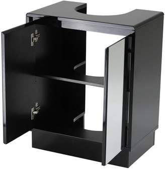 Lloyd Pascal Memphis Mirrored Black High Gloss Undersink Storage Cabinet