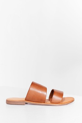 Nasty Gal Womens Born to Mule Leather Flat Sandals - Tan
