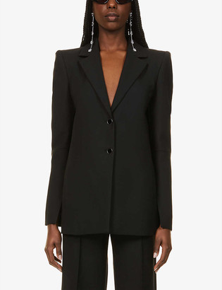 Off-White Padded-shoulder notch-lapel stretch-twill blazer