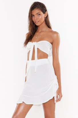 Nasty Gal Womens Do I Bow You Ruched Crinkle Cover-Up Skirt - White - 10