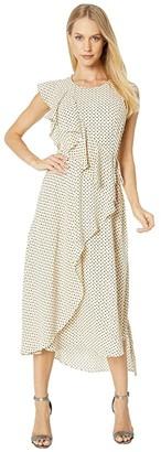 BCBGMAXAZRIA Floral Dot Ruffle Dress (Antique White/Mini Floral Dots) Women's Dress