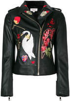 Temperley London embroidered patch biker jacket