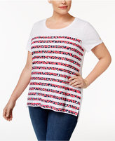 MICHAEL Michael Kors Size Striped Cotton T-Shirt