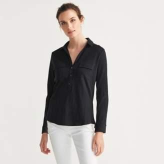 The White Company Cotton Half Button Long Sleeve Shirt , Chalk Blue, 18