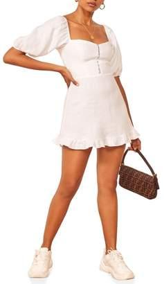 Reformation Seattle Puff Sleeve Linen Minidress