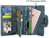 """UTO Women PU Leather Wallet 5.5"""" Phone Case Card Holder Organizer Zipper Coin Purse with Snap Closure 3"""