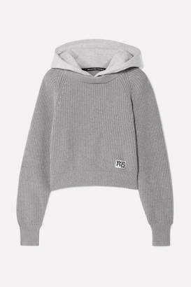 Alexander Wang Hooded Jersey And Ribbed Cotton-blend Sweater - Light gray