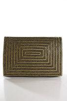 Deepa Gurnani Black Leather Gem Detail Magnet Closure 2 Pocket Clutch Handbag