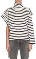 Balenciaga Wool Stripe Asymmetric Turtleneck Sweater
