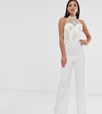 Chi Chi London Tall lace jumpsuit in white