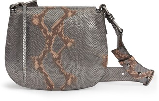AllSaints Captain Round Snakeskin Embossed Leather Crossbody Bag