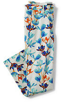 Lands' End Women's Tall Mid Rise Chino Crop Pants-Light Aquamarine Floral