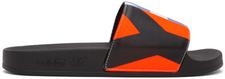 Y-3 Black Graphic Adilette Sandals