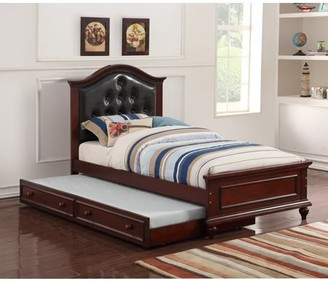 Simple Relax Cherub Twin Size Bed with Trundle in Black and Cherry Brown