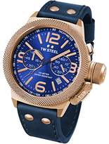 TW Steel Canteen Men's Quartz Watch with Blue Dial Chronograph Display and Blue Leather Strap CS64