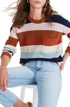 Madewell Thompson Rainbow Stripe Pocket Pullover Sweater
