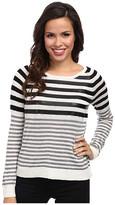 C&C California Stripe Sweater w/ Faux Leather Detail