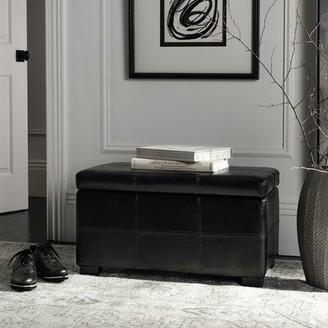 Safavieh Maiden Faux leather Flip top Storage Bench Color: Black