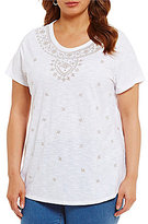 Allison Daley Plus Wide Crew Neck Solid Knit Intricate Floral Embroidered Top