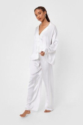 Nasty Gal Womens I Have a Dream Oversized Satin Pajama Set - Cream