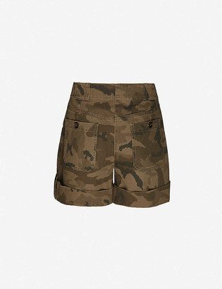 Me And Em Camouflage-print high-rise cotton cargo shorts